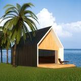 Casa de mansão moderna com opinião do mar 3d rendem Fotos de Stock