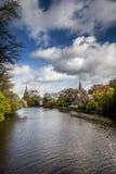 Casa de Minnewater en Brujas, Bélgica Imagenes de archivo