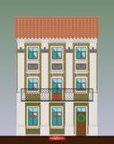 Casa de moradia no estilo do classicismo Arquitetura clássica da cidade Construção do vetor Infraestrutura da cidade Bui bonito v ilustração royalty free