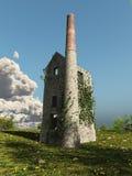 Casa de motor de Cornualles de la mina con la hiedra Fotografía de archivo