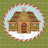 Casa de pão-de-espécie do Natal ilustração royalty free