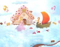 Casa de pão-de-espécie nas nuvens Foto de Stock Royalty Free