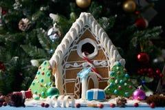 Casa de pão-de-espécie com árvores de Natal Imagem de Stock