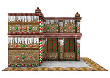 casa de pão-de-espécie do Natal da rendição 3D no branco Fotografia de Stock Royalty Free
