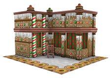 casa de pão-de-espécie do Natal da rendição 3D no branco Foto de Stock Royalty Free