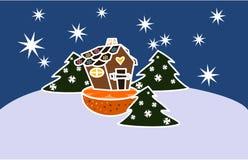 Casa de pão-de-espécie, estando em uma laranja cortada, em uma floresta nevado ilustração stock
