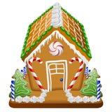 Casa de pan de jengibre con los caramelos ilustración del vector