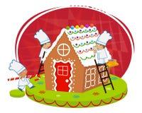 Casa de pan de jengibre de los cocineros y stock de ilustración