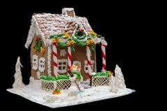 Casa de pan de jengibre, árbol de navidad del pan de jengibre y una masilla del azúcar Imagen de archivo