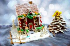 Casa de pan de jengibre hecha en casa, árbol de navidad del pan de jengibre y un sug Foto de archivo libre de regalías