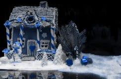 Casa de pan de jengibre hecha en casa nevada grande, una puntilla de Christma Fotografía de archivo libre de regalías
