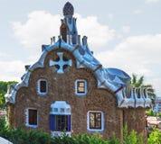 Casa de pan de jengibre de los mosaicos Barcelona, Cataluña, España imagenes de archivo