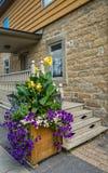 Casa de pedra com flores Imagens de Stock