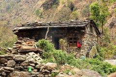 Casa de pedra nas montanhas dos Himalayas Região de Everest, H Imagens de Stock