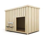 Casa de perro de madera en un fondo blanco 3d rinden los cilindros de image Foto de archivo libre de regalías