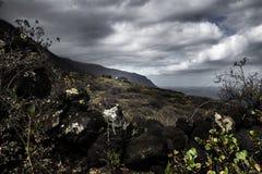 Casa de piedra de la lava en hierro del EL en el paisaje Imágenes de archivo libres de regalías