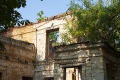 Casa de piedra destruida amarilla antigua vieja en la yarda con los árboles alrededor Pobreza y miseria, del sur, verano imágenes de archivo libres de regalías