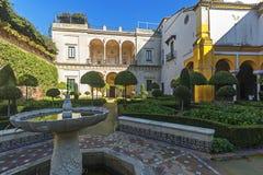 Casa de Pilatos i Seville, i Andalusia spännvidd Arkivfoton