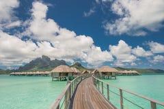 Casa de planta baja del overwater de Bora Bora Tahiti Imágenes de archivo libres de regalías
