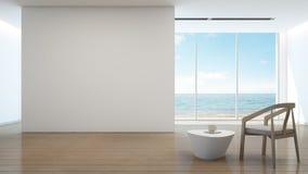 Casa de playa, interior de la opinión del mar del hogar moderno Imagen de archivo