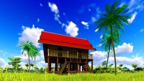 Casa de praia tropical na rendição dos trópicos 3d Fotos de Stock Royalty Free