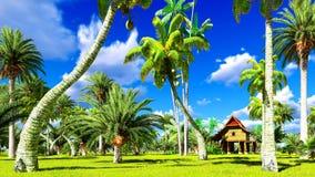 Casa de praia tropical na rendição dos trópicos 3d Fotografia de Stock Royalty Free