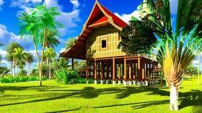 Casa de praia tropical na rendição dos trópicos 3d Foto de Stock