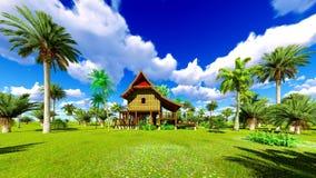Casa de praia tropical na rendição dos trópicos 3d Foto de Stock Royalty Free