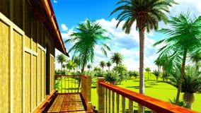Casa de praia tropical na rendição dos trópicos 3d Fotos de Stock