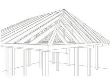Casa de quadro de madeira do esboço arquitetónico Imagens de Stock