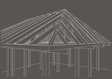 Casa de quadro de madeira do esboço arquitetónico no fundo cinzento Fotos de Stock