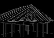 casa de quadro de madeira do esboço arquitetónico no fundo preto Imagem de Stock Royalty Free