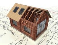 Casa de registro de madera en el plan maestro. Imagen de archivo