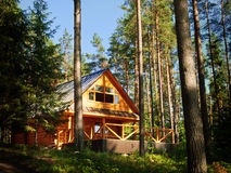 Casa de registro en el bosque Imagen de archivo