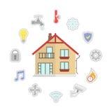 Casa de Smart do vetor Ilustração lisa do estilo do projeto Casa esperta infographic ilustração royalty free