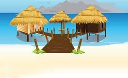 Casa de tejado de paja de bambú en la isla Fotos de archivo libres de regalías