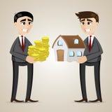 Casa de troca dos desenhos animados entre o agente e o homem de negócios Imagens de Stock Royalty Free