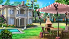 Casa de vacaciones, casa privada, chalet ilustración del vector