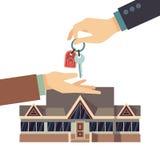 A casa de venda e de compra bens imobiliários vector o conceito do negócio com tecla HOME das mãos ilustração do vetor