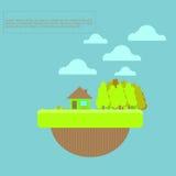 Casa de verão e ilustração do mundo para o projeto Imagem de Stock