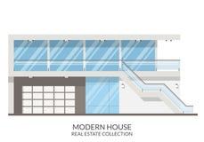 A casa de verão moderna, bens imobiliários assina dentro o estilo liso Ilustração do vetor Fotografia de Stock Royalty Free