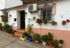 Casa de vivienda con las flores en potes Fotografía de archivo libre de regalías