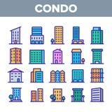 Casa de vivienda, sistema linear de los iconos del vector de la propiedad horizontal ilustración del vector