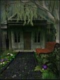 Casa debajo de un sauce que llora Foto de archivo