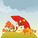 Casa debajo del paraguas stock de ilustración