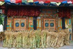 Casa dei famer tibetani Fotografia Stock Libera da Diritti