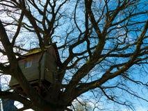 Casa del árbol de madera resistida nostálgico antiguo Imagen de archivo