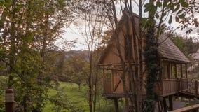 Casa del árbol en el bosque de Eslovenia Imagenes de archivo