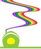 Casa del arco iris stock de ilustración