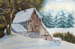 Casa del campo del invierno Imagen de archivo libre de regalías